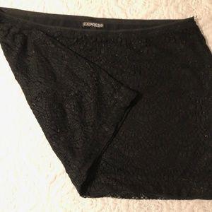 Express black lace sparkle shimmer mini skirt